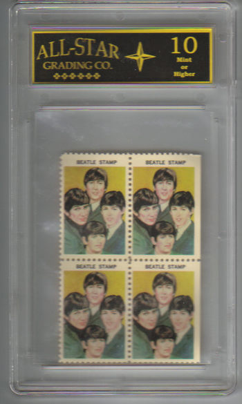 Graded 10 - 1964 THE BEATLES Entire Band Color Hallmark Stamps Plate of 4