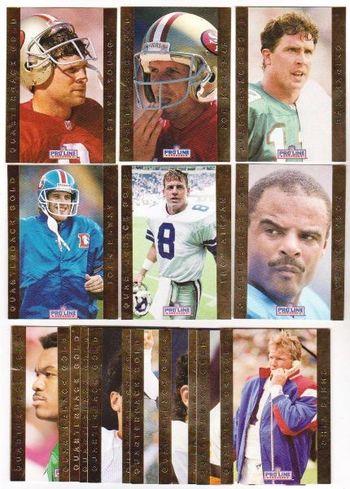1992 Pro Line Quarterback Gold 18 Card Insert Set - Joe Montana + More
