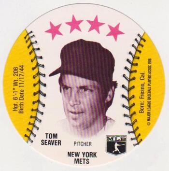 1976 Isaly's Disc Tom Seaver Card - High Grade