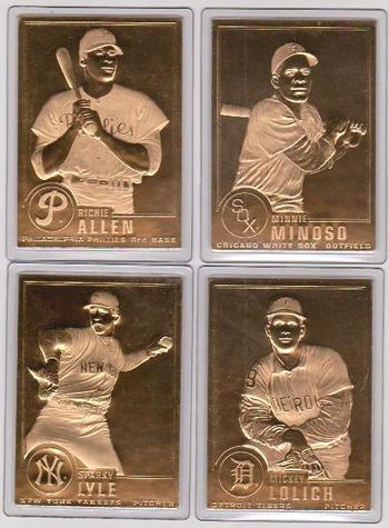 22kt Gold - 4 Different 1996 Danbury Mint Gold Cards - Minnie Minoso, Mickey Lolich, Richie Allen, Sparky Lyle
