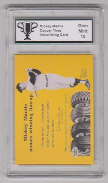 Graded Gem Mint 10 Mickey Mantle Cooper Tires Advertising Promo Card