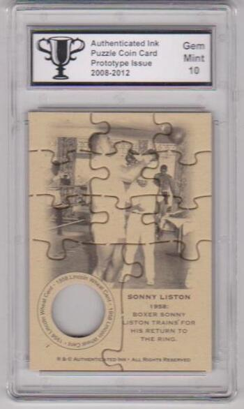 Graded Gem Mint 10 - Sonny Liston Authenticated Ink Puzzle Prototype Card