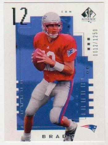 2000 SP Authentic Tom Brady Rookie Card #12/1250 Rookie Reprint