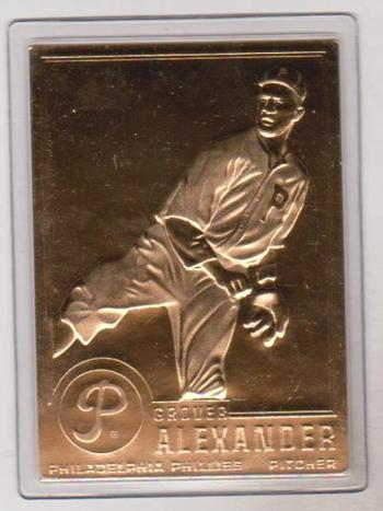 22 kt Gold - Grover Alexander 1996 Danbury Mint Gold Card - HOF'er