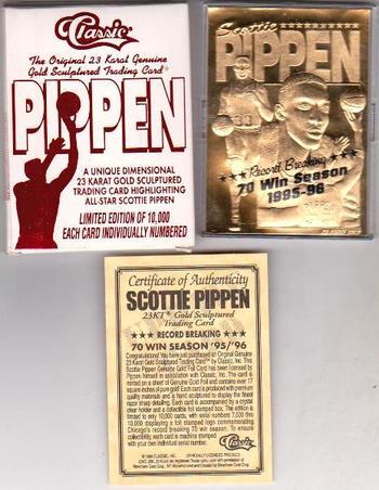23 kt Gold - SCOTTIE PIPPEN 1996 Classic 23 Karat Card in Box w/COA