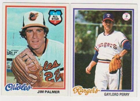 1978 Topps Jim Palmer #160 + Gaylord Perry #686 Card Pair - HOF'ers