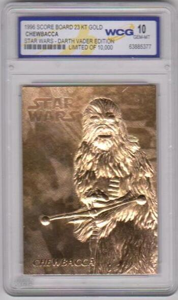 Graded Gem Mint 10 - Chewbacca 1996 Score Board Star Wars 23 Kt Gold Card