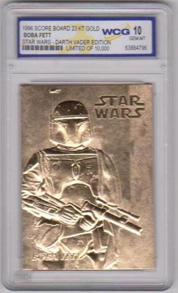 Graded Gem Mint 10 - Boba Fett 1996 Score Board Star Wars 23 Kt Gold Card
