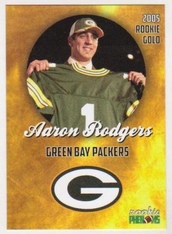 2005 Rookie Phenoms Aaron Rodgers Rookie Gold Card