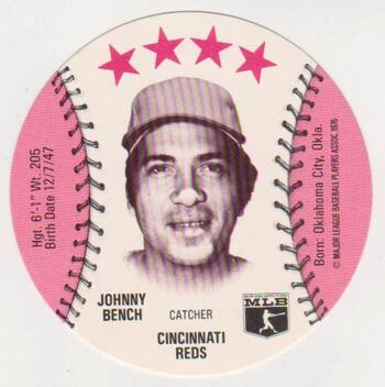 1976 Isaly's Disc Johnny Bench Card - High Grade