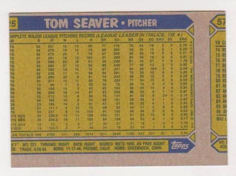 Wrong Front Error - Tom Seaver 1987 Topps - Tough To Find