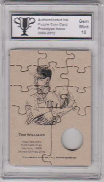 Graded Gem Mint 10 - Ted Williams Authenticated Ink Puzzle Prototype Card