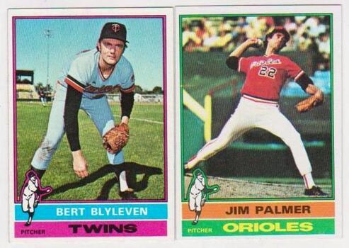 1976 Topps Jim Palmer #450 + Bert Blyleven #235 Card Pair - HOF'ers