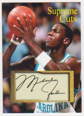 Michael Jordan Supreme Cuts Facsimile Autograph North Carolina College Sample Card