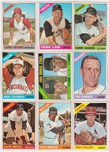9 Different 1966 Topps Baseball Cards - Vintage Lot