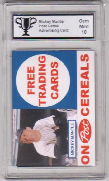 Graded Gem Mint 10 Mickey Mantle Post Cereal Type 2 Advertising Promo Card