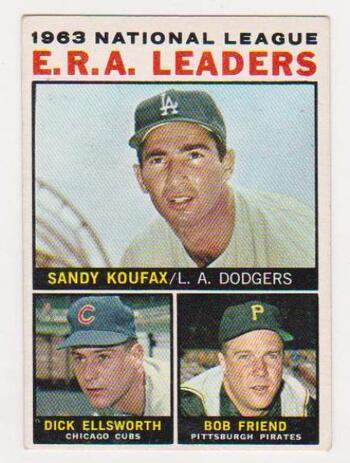 1964 Topps Sandy Koufax/Dick Ellsworth/Bob Friend #1 Card
