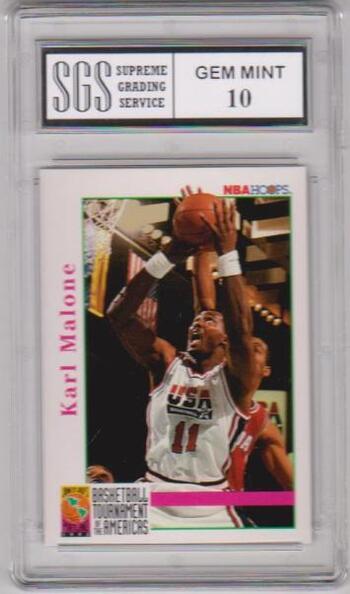 Graded Gem Mint 10 - Karl Malone 1992 Hoops USA Basketball #343 Card