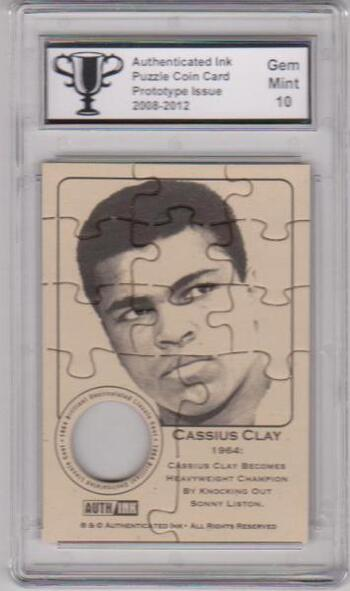 Graded Gem Mint 10 - Cassius Clay (Muhammad Ali) Authenticated Ink Puzzle Prototype Card