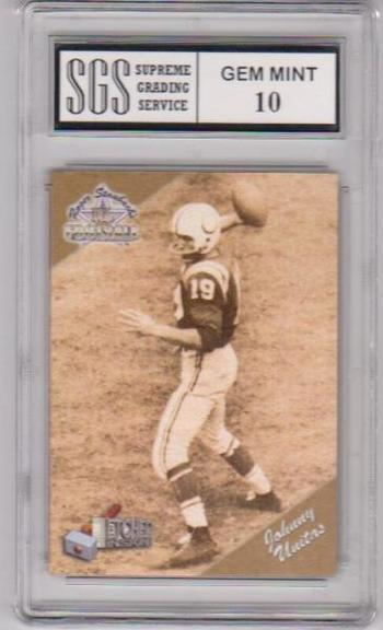 Graded Gem Mint 10 - Johnny Unitas 1994 Ted Williams Company Unitas Etched In Stone #ES7 Insert Card
