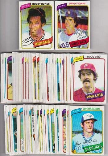 75 Different 1980 Topps Baseball Cards - Bobby Bonds + More