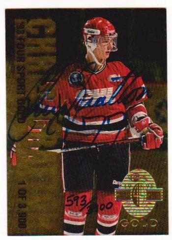 Signed - Chris Gratton 1993 Classic 4-Sport Gold #593/3900 Rookie Card Autograph
