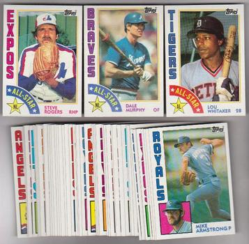 50 Different 1984 Topps Baseball Cards - Dale Murphy, Lou Whitaker + More