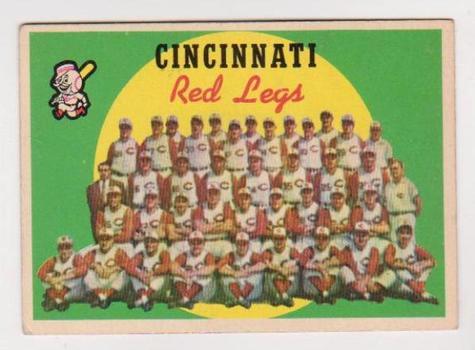 1959 Topps Cincinnati Red Legs #111 Team Card w/ Frank Robinson + More