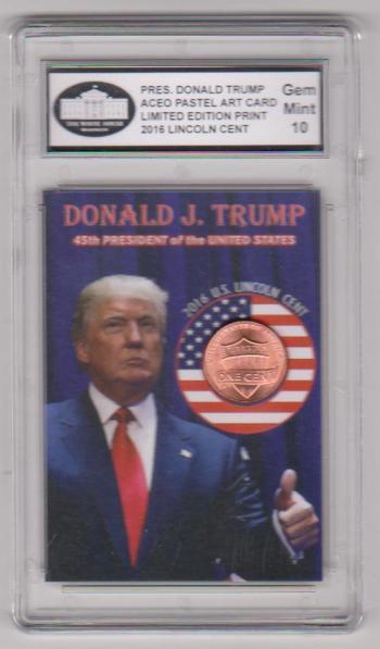 Graded Gem Mint 10 - Donald Trump Pastel Art Print ACEO Card
