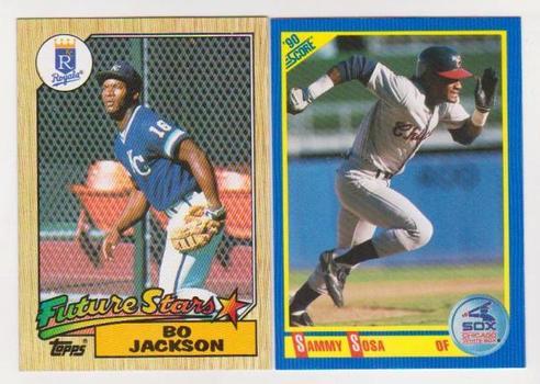Rookies - Bo Jackson 1987 Topps + Sammy Sosa 1990 Score Rookie Pair
