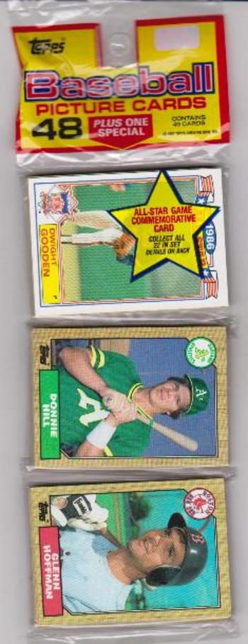 1987 Topps Baseball 49 Card Rack Pack w/ Dwight Gooden On Front