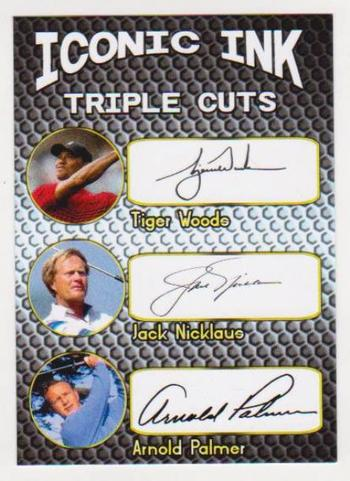 Iconic Ink Triple Cuts Tiger Woods/Jack Nicklaus/Arnold Palmer Facsimile Autograph Card