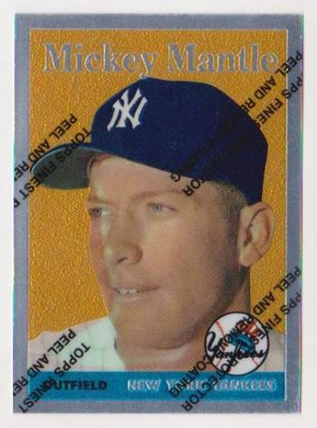 Mickey Mantle 1958 Topps Finest #150 Commemorative Card - 1996 Topps #8 of 19 Insert Card