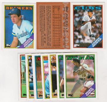 ERROR LOT - 10 Different 1988 Topps Baseball Wrong Back Errors - Jamie Moyer + More