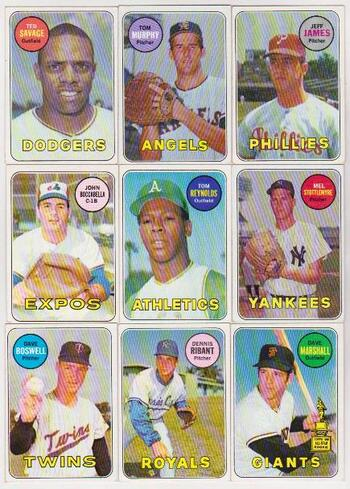 9 Different 1969 Topps Baseball Cards - Vintage Collection