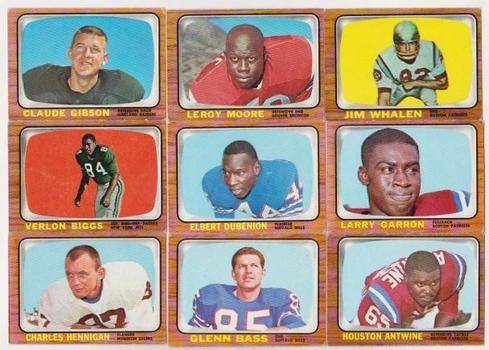 9 Different 1966 Topps Football Cards - Vintage Lot