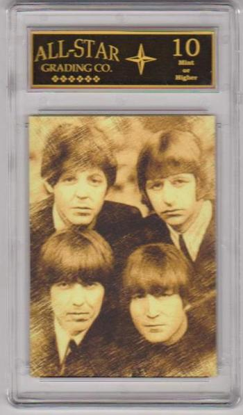 Graded 10 - The Beatles Facsimile Autograph Yellow Tint Sample Card