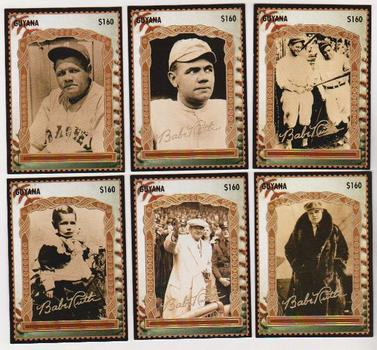 6 Different Babe Ruth 1996 Guyana $160 Stamp Trading Cards W/ Facsimile Gold Signature