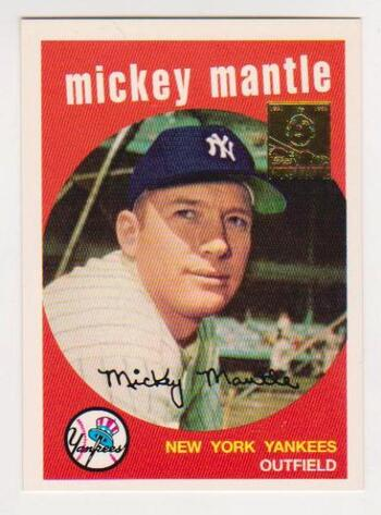 Mickey Mantle 1959 Topps #10 Commemorative Card - 1996 Topps #9 of 19 Insert Card