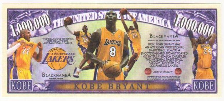 Kobe Bryant 1 Million Novelty Dollar Bill Money Note