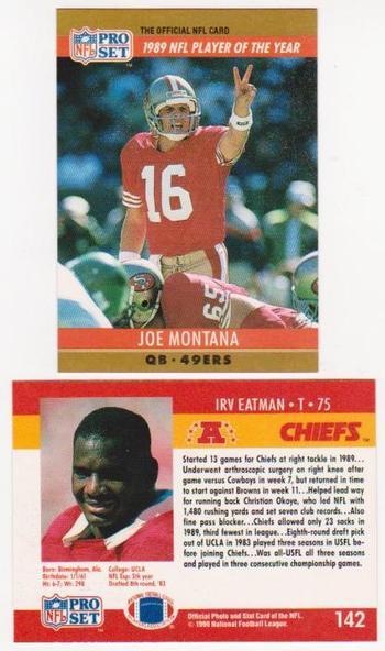 Error - JOE MONTANA 1990 Pro Set Wrong Back - Tough To Find