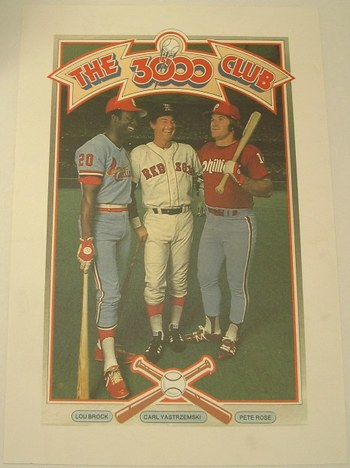 "Pete Rose Lou Brock Carl Yastrzemski 3000 Hit Club 13.5""x20"" Vintage Poster"