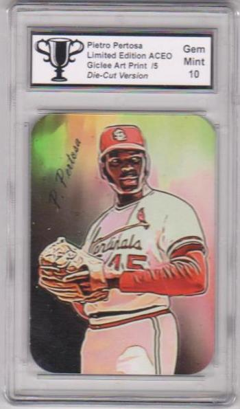 #5/5 Produced - Bob Gibson Signed By Artist ACEO Die Cut Version Art Card Graded Gem Mint 10