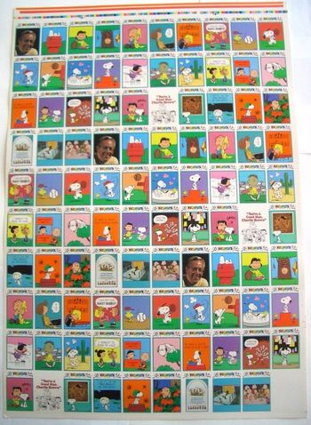 Peanuts Trading Card Uncut 99 Card Sheet With 3 Complete Sets - Snoopy Charlie Brown