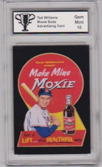 Graded Gem Mint 10 Ted Williams Moxie Soda Advertising Promo Card