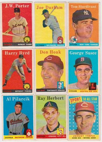 9 Different 1958 Topps Baseball Cards - Vintage Collection