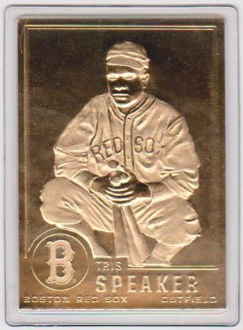 22 kt Gold - TRIS SPEAKER 1996 Danbury Mint Gold Card - HOF'er