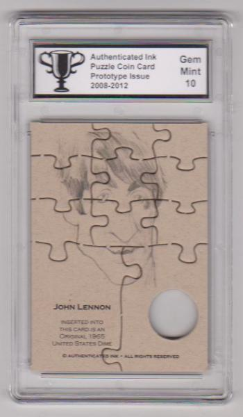 Graded Gem Mint 10 - John Lennon Authenticated Ink Puzzle Prototype Card