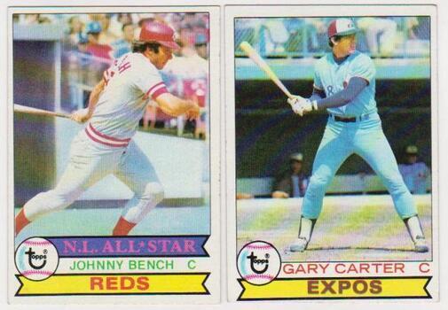 1979 Topps Johnny Bench #200 + Gary Carter #520 Card Pair - HOF'ers