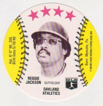 1976 Isaly's Disc Reggie Jackson Card - High Grade